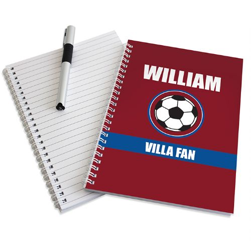 Personalised Claret and Blue Football Fan Notebook